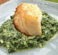 Phase 2 hCG Diet Recipe - Creamed Spinach and Broiled Sea Bass (Thin Deluxe Protocol)