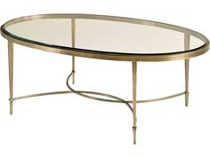 The Oval Coffee Table features a clear glass, beveled top that sits slightly raised from its surrounding, sleek metal apron. The table is supported by four straight, gently tapered metal legs joined in an interlocking, half-moon stretcher. Hickory Furniture, Baker Furniture, Large Furniture, Metal Furniture, Modern Furniture, Oval Glass Coffee Table, Coffee Table Design, Moon Table, Dining Arm Chair