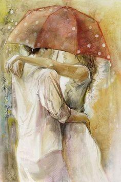 adorable, art, asma, beautiful, boy, colors, couple, cut, draw, drawing, girl, hug, huging, illustration, kiss, love, lover, umbrella