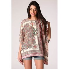 Beige sateen poncho top in paisley print - tulipsandbluebells - 4