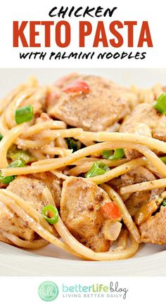 """This Chicken dish with Palmini noodles will give you that """"pasta"""" fix if you're on a Keto/low-carb diet. Absolutely delicious! Chicken Pasta Dishes, Keto Chicken, Yum Yum Chicken, How To Cook Chicken, Noodle Recipes, Pasta Recipes, Low Carb Recipes, Low Carb Diet, Low Carb Noodles"""