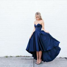High Low Navy Blue Prom Dresses Satin Evening Gowns sexy 2017 new fashion prom gowns for teens