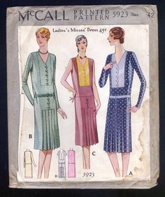 1929 McCall Pattern Ladies' Dress with Scalloped Front Large Size | eBay