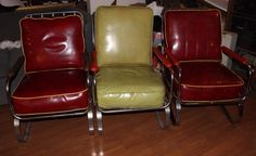 Leather Chairs x 2 Art Deco Chair, Art Deco Furniture, Machine Age, Leather Chairs, Bauhaus, 1930s, Chrome, Modern, Lamps