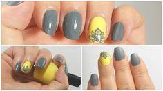Manicuria en gris y amarillo con stamping
