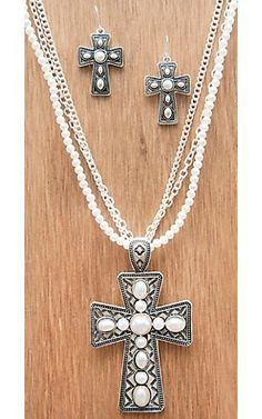 M&F Products Silver Cross w/ Pearls 3 Chain Jewelry Set 29565 | Cavender's