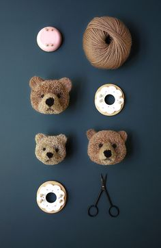 DIY crafting fun for kids: Making little bears out of pompoms with kids - Pom Pom Bear - Pom Maker B I am so going to try this - How to Make a Pom Pom Bear - this pom pom bear is so adorable and the step by step instructions look prett… muzzle color for Kids Crafts, Diy And Crafts, Craft Projects, Sewing Projects, Arts And Crafts, Kids Diy, Preschool Crafts, Decor Crafts, Sewing Tutorials