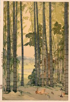 Bamboo, 1939, Hiroshi Yoshida. Japanese woodblock print.