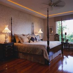 une chambre à coucher feng shui avec un lit à colonnes en bois idée de lampes marché aux puces