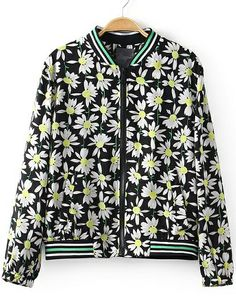 Black Stand Collar Floral Crop Jacket US$34.17