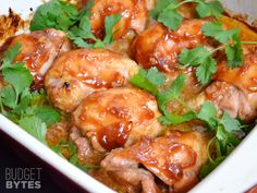 Honey Sriracha Chicken Thighs sweet, spicy, tender, and juicy! A super fast prep makes them a great weeknight dinner. Step by step photos. Honey Sriracha Chicken Thighs by @budgetbytes