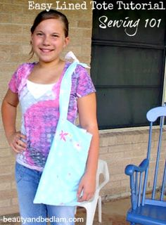 This easy purse pattern tutorial makes an adorable handmade lined tote - perfect homemade gift idea.