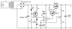 This time we get a adjustable power supply with output voltages between and the maximum current of This is very useful for laboratory power supply or workshop power supply. Hobby Electronics, Electronics Projects, Power Supply Circuit, Electronic Schematics, Electrical Projects, Construction Tools, Circuit Diagram, Audio Amplifier, Hardware Software