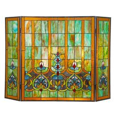 River of Goods Webbed Heart Stained Glass Fireplace Screen - 14749