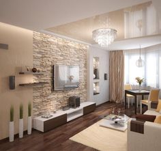 Wohnzimmer modern -einrichten-beige-warm-natursteinwand-wand-montierter-fernseher