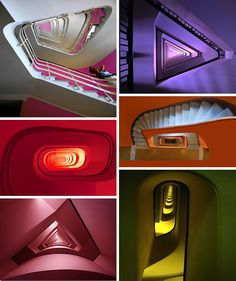 "Colorful Staircases All of these colorful and architecturally enchanting stairways can be found in Rome. There is a group of photographers who belong to the ""Spiral staircases and staircases project in Rome."" They walk around with their friends and capture these vivid beauties and their perception of reality for the rest of us to enjoy."