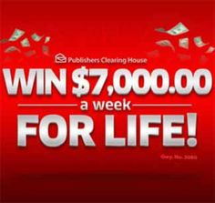 pch 7000 week for life www.pch.com   $7,000 A Week For Life Sweepstakes