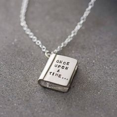 'once upon a time' silver story book necklace by bug   notonthehighstreet.com