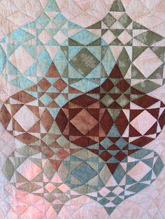 Quilt, Japanese Lantern, Aqua, Brown, Green. $625.00, via Etsy.