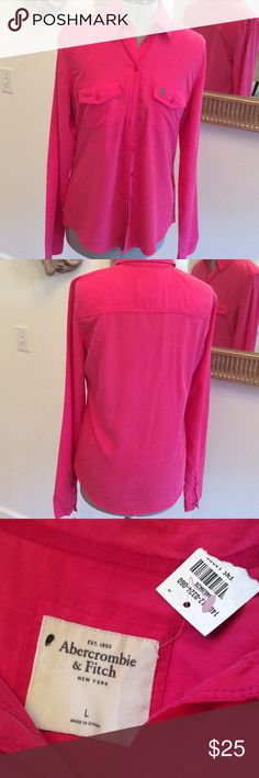 💰SALE‼️Abercrombie & Fitch pink new Button down pink, ladies, size L, new Abercrombie & Fitch Tops Button Down Shirts