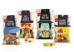 Pams Confectionery Range Pams Confectionary Range will have you jumping with joy with their fun and delectable sweet treats. Designed by Brother Design, each bag has a colorful character filled with chocolate, Licorice and gummies. Each illustrated figure corresponds to the party mix inside and has a narrative beside it.