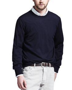 Fine-Gauge Knit Elbow-Patch Sweater, Navy (Blue) - Brunello Cucinelli