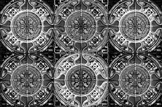 MANDALA TILES CHECK BLACK AND WHITE STONES fabric by paysmage on Spoonflower - custom fabric