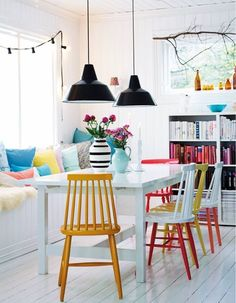15 Dining Rooms with Brilliantly Colorful Chairs - 15 Dining Rooms with Brilliantly Colorful Chairs: gallery image 12 Multicolored – Bright Bazaar - Dining Room Colors, Dining Room Lighting, Dining Room Design, Dining Room Furniture, Room Chairs, Bright Dining Rooms, Patio Chairs, Design Kitchen, Painted Dining Chairs
