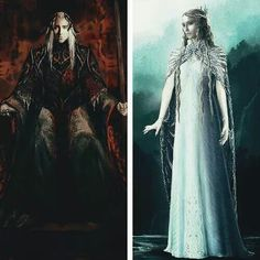 Galadriel and Thranduil concept art