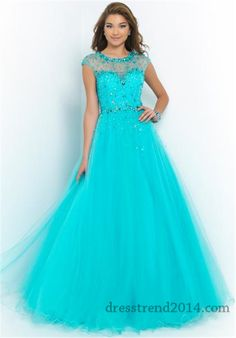 Blush 5409 Turquoise High Neck Beaded Ball Gowns of 2015