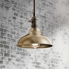 This farmhouse barn, industrial look fixture can be installed as a chic mini pendant or as a wall sconce. Convertible mini pendant or wall sconce. Style # at Lamps Plus. Mini Pendant Lights, Pendant Lighting, Pantry Lighting, Beautiful Wall, One Light, Polished Nickel, Wall Sconces, Light Fixtures, Bronze