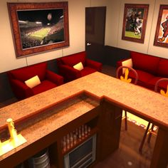 3ds Max Virginia Hokie Man Cave   Virginia Tech Man Cave (bar And Home  Theater)... By StudioThought