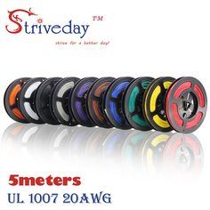 Striveday 20 AWG  5M 16.4 FT Flexible Stranded 10 Colors 1007   Electronic Wire Conductor To DIY Electrica Wires Cables 20AWG