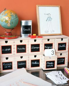 An organized craft room is a good craft room. These DIY chalk board labels are easy to create, and are versatile enough to be used again and again.