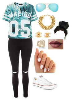 """""""Casual day"""" by ezinwa on Polyvore featuring Glamorous, A.V. Max, Ray-Ban, Effy Jewelry, Converse and LORAC"""