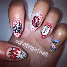 Nail Trends: Pop Art Nails, From Andy Warhol to Comic Books Throwback to Classic Comic books pop art, check out this collection of Comic Characters, Throwback, Comic Classics Pop Art Nails, Fun Nails, Nail Art, Comic Book Nails, Comic Books, Kitsch, Picasso Collage, Summer Art Projects, Nagellack Trends