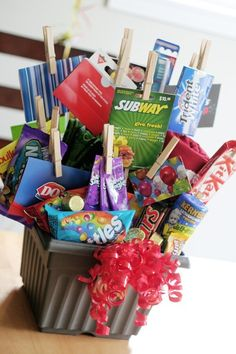 Junk Food gift basket. Fill it with candy and gift cards to DQ, Coldstone, Baskin Robbins, etc.