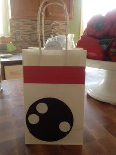 Bowling party favor bag