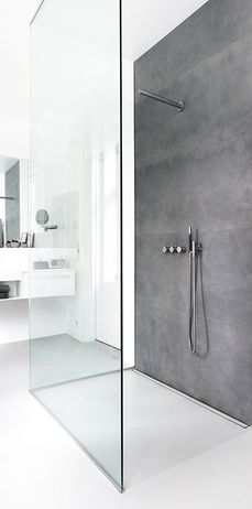 This Minimal, Scandinavian Inspired Wet Room Features A Striking Grey Tiled  Panel Behind The Shower, Creating Interest And Helping To Zone The Shower  Area