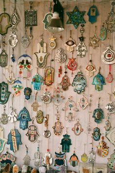 a wall of hand of fatima/hamsa collection Hands Of Light, Hand Der Fatima, Hamsa Hand, Bohemian Decor, Inspiration, Holiday Decor, Christmas Decorations, Crafts, Home Decor