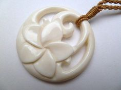 Flower Buffalo Bone Carved Pendant