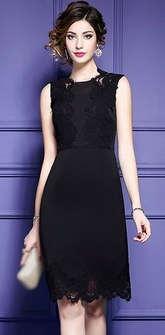 Elegant Sleeveless Lace Patchwork Bodycon Dress
