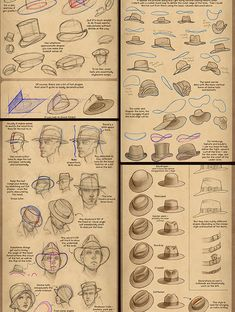 "lackadaisycats: ""Some snippets from a Hat Drawing Tutorial I just posted to Patreon. I may share it openly, eventually, but for now it's available to all patrons, $1 and up! """