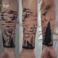 Lobo luna Skull Tattoos, Leg Tattoos, Arm Tattoo, Body Art Tattoos, Sleeve Tattoos, Cool Tattoos, Tatoos, Him And Her Tattoos, Tattoos For Guys