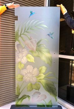 Shower Glass Door Hibiscus Anthurium 3D Painted Private