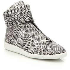 Maison Margiela Watersnake Future High-Top Sneakers : Maison Margiela... ($1,685) ❤ liked on Polyvore featuring men's fashion, men's shoes, men's sneakers, apparel & accessories, mens high top sneakers, maison margiela mens shoes, mens high top shoes and mens lace up shoes