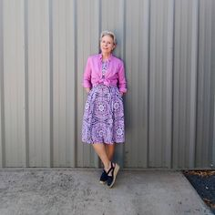 Printed dress worn with tie waist shirt and espadrilles | Photo shared by Eileen | For more style inspiration visit 40plusstyle.com