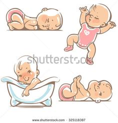 Set of cute baby girls. 0-12 months. Various poses. First year activities. Sleeping positions, on stomach, on back, legs in hands. Swimming in bath. Vector Illustration isolated on white background