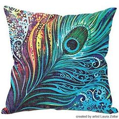 6.4$  Watch here - http://dirfl.justgood.pw/go.php?t=173082401 - High Quality Colorful Peacock Feather Pattern Art From Laura Zollar Flax Pillow Case???Without Pillow Inner???