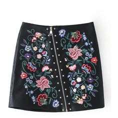Black Faux Leather Embroidery Floral Asymmetric Zip Mini Skirt (620 MXN) ❤ liked on Polyvore featuring skirts, mini skirts, faux-leather skirts, vegan leather mini skirt, short mini skirts, floral printed skirt and faux leather mini skirt